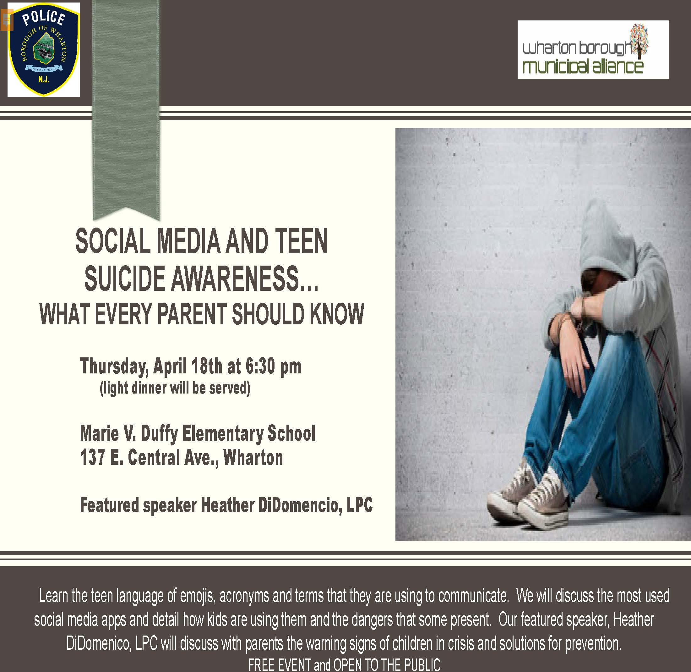 Social Media and Teen suicide flyer